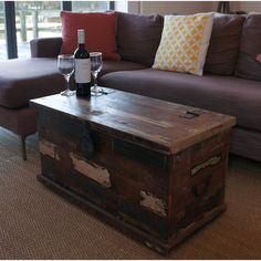 Williston Forge Nikolai Chest Coffee Table & Reviews | Wayfair.co.uk Suitcase Storage, Storage Trunk, Storage Sets, Coffee Table Kitchen, Copper Coffee Table, Blanket Box, Blanket Chest, Rustic Storage Bench, Old Trunks