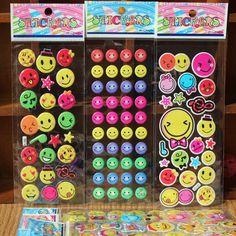 5pcs Fashion Brand Kids Toys Cartoon Emoji Smile face Expression 3D Stickers Children PVC Stickers Bubble Stickers