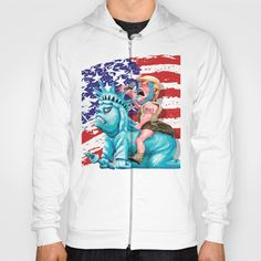 Liberty is in my control HOODY UNISEX @pointsalestore Society6 #hoody #tee #tshirt #clothing  #drawing #oil #coloredpencil #inkpen #popart #streetart #donald #trump #donaldtrump #humor #cute #parody #lol #unclesam #americaflag #liberty #statue #racism #haters