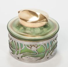 An-Art-Nouveau-Period-Antique-Bohemian-Iridescent-Glass-Metal-Inkwell