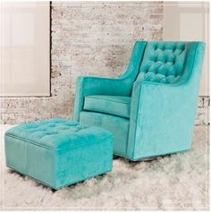 This Chair with Matching Ottoman | 37 Ways To Treat Yourself With Tiffany Blue