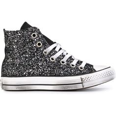 Converse All Star Glitter Hi-Top Sneakers ($171) ❤ liked on Polyvore featuring shoes, sneakers, black, black high tops, hi tops, black glitter sneakers, converse sneakers and black hi tops