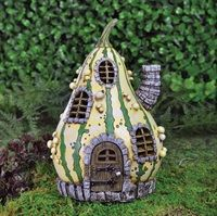 Our stunning fairy homesteads are made with resin and are suitable for indoor or outdoor use.  This whimsical place is called ' Striped Gourd Fairy Home'. £18.99 plus P&P #fairygarden #thefiddleheadfairygarden