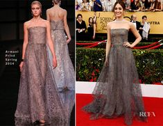 2015 actor's guild award presenter dress -Emmy Rossum's Swarovski crystal infused Armani Privé gown looked stunning as she glided across the stage; pic does not do justice