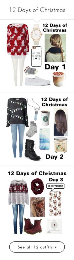 """12 Days of Christmas"" by jessie-makes-outfits ❤ liked on Polyvore featuring River Island, Glamorous, Vans, Casetify, J.Crew, Bullet, Refresh, BlissfulCASE, Toast and Yankee Candle"