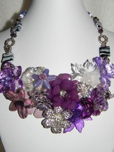 Wire Wrapped Floral Bouquet Mixed Bead Necklace . etsy.com