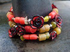 Bella Bellissimo Black Rimmed Red Roses Bracelet, with Green Garnets, Green Handmade Translucent Beads, Czech & Antiqued Gold Glass by FreshPamplemousse, $29.00