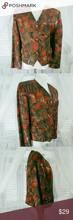 """Elegant Evening Jacket Bust: 40""""  Waist: 36"""" Hip: 38""""  Length shoulder top-hem:  23""""  Lightweight rayon/polyester blend fabric. Has a crisp, polished feel to the fabric.  Black, copper, rust and purple design with a faint metallic sheen.  V neckline. 3 button. Front flap pockets. Long sleeves. Fully lined. Light shoulder pads.   Dry clean Very good condition.  No flaws  2015169 Harris Wallace Jackets & Coats Blazers"""