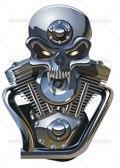 Metall Skull with Engine  #GraphicRiver         Available ai-10, cdr-12 and eps vector formats separated by groups for easy edit