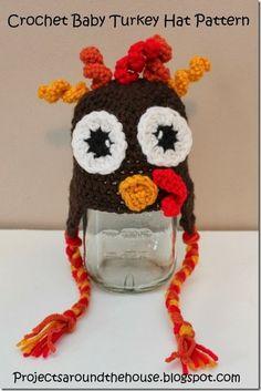 Crochet baby turkey hat pattern- free pattern