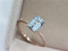 VS 6x8mm Blue Aquamarine Ring Solid 14K Rose Gold by AbbyandWills