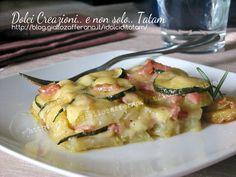 Tortino di Patate e Zucchine al forno con mortadella e formaggio è un goloso piatto unico, facile da preparare ideale per scaldare le fredde sere invernali