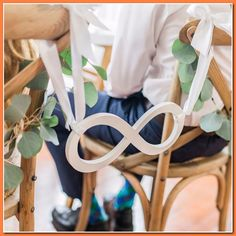 Wedding Venues This wedding chair sign is a beautiful infinity sign for the bride and groom's chairs at the wedding reception. With this lovely prop, the wedding reception decor and photos will be unique and memorab Wedding Chair Signs, Wedding Chair Decorations, Wedding Chairs, Wedding Seating, Wedding Reception Food, Best Wedding Venues, Our Wedding, Dream Wedding, Wedding Receptions