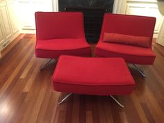 MODERN EAMES TYPE OVER SIZED CHAIRS WITH OTTOMAN. THESE POP SWIVEL CHAIRS ARE MADE BY LIGNE ROSET FROM FRANCE. CONTINUOUS BACK/SEAT CUSHION. STAINLESS STEEL BASE, SWIVEL OR STATIONARY. EXCELLENT, CLEAN CONDITION. MID CENTURY AT ITS FINEST. CHAIRS MEASURES 30 TALL BY 36 WIDE. AND OTTMAN IS 24 X 36. THE CHAIRS HAVE TO DIFFERENT FABRICS ON EACH CHAIR, BUT COMPLAINT EACH OTHER.