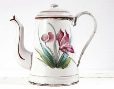 Beautiful FRENCH Enamel Coffee POT with flowers by RueDesLouves, $120.00