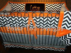 Orange & Gray with accents of black & white.