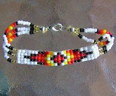 Very nice Navajo handmade beaded bracelets. These beaded clasp bracelets are hand beaded by Navajo Indian artisan Marci Barber. FOUR, Handmade Navajo Indian Beaded Clasp Bracelets for smaller wrists. Beaded Necklace Patterns, Beaded Bracelets Tutorial, Bead Loom Bracelets, Beading Patterns, Beading Ideas, Loom Patterns, Beading Projects, Beading Supplies, Beading Tutorials