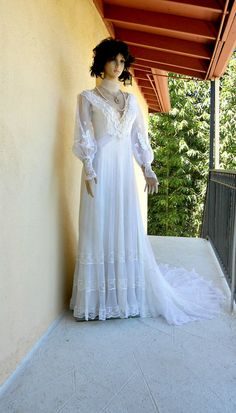 Small 1970s Wedding Dress  Victorian Style by vintagefriends