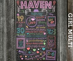 First Birthday Chalkboard Girl Multi / by PickleNoodleBoutique, $39.00
