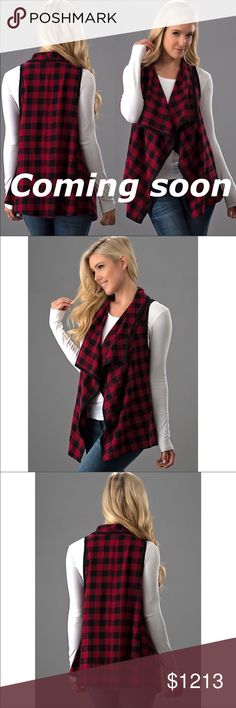 Plaid Waterfall Vest Red & Black Waterfall Vest W/Pockets. Material - 100% Polyester Jackets & Coats Vests