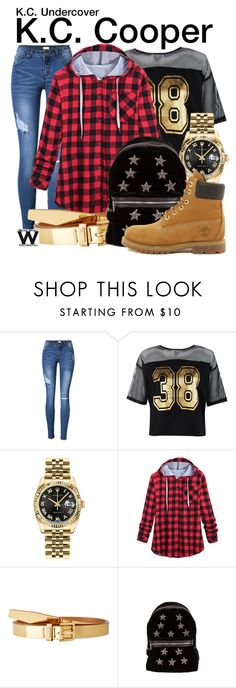 """""""K.C. Undercover"""" by wearwhatyouwatch ❤ liked on Polyvore featuring Boohoo, Rolex, Lauren Ralph Lauren, Cynthia Rowley, Timberland, television and wearwhatyouwatch"""