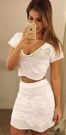 conjunto tricot croche renda saia colada justa+ cropped    n