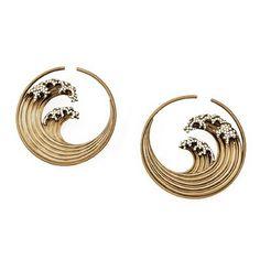 Garaude Paris - Earrings N°591, Hokusaï Collection  Gold mat titanium, diamonds