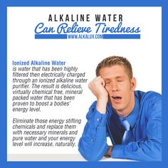 Alkaline Water can Relieve Tiredness | For more info about Alkaline Water: http://www.alkalux.com/knowledge-base/about-alkaline-water.html