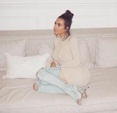 Ripped denim boots Kim Kardashian