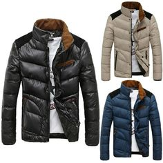 Mens Slim Fit Stand Collar Winter Warm Cotton Jacket Coat