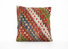 Thanks for visiting my shop -  Wool Decorative Pillow Cover  ● This cushion cover will surely provide a warm, welcoming feeling to your daily life..With a special design,the is sure to add flavor, texture and depth to your living space. as l wrote on about section we collect old kilims and fabric,sewing back side with zipper and ironing   ● Size: 40cm x 40cm / 16 x 16 ● The front of wool yarn ● The back side is natural color cotton fabric. ● The listing is the PILLOW COVER ONLY. ● Care...