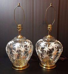 Vtg Hollywood Regency Mid Century Modern Art Glass Ginger Jar Lamp Bamboo Tiki