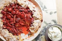 Strawberry and rhubarb filling is a heavenly match in this fancy French sweet tart.
