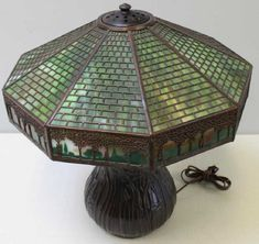 Tree Borders, Louis Comfort Tiffany, Antique Lighting, Lamps, Auction, Table Lamp, Shades, Antiques, Gallery