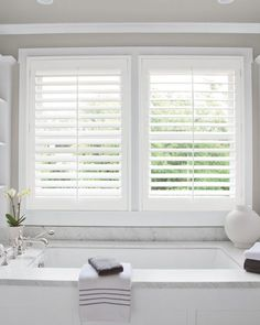 "hese beautifully styled shutters are crafted to bring you all the beauty of wood alongside superior insulation. Consider them for high-moisture areas not normally suitable for wood, like kitchens and bathrooms. The grand 3 1/2"" louver size offers more expansive views when open."
