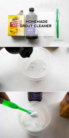 This homemade grout cleaner is super easy to make and works just as well as the store bought version but without the chemicals! Source by homejobsbymom Shower Grout Cleaner, Homemade Grout Cleaner, Cleaners Homemade, Diy Cleaners, Best Grout Cleaner, Safe Cleaning Products, Cleaning Recipes, Cleaning Hacks, Cleaning Supplies