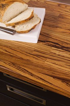 Our zebrano worktops are totally unmistakable, exhibiting dark zebra stripes against a golden background. Wood Worktop Kitchen, Work Tops, Industrial Style, Solid Wood, Golden Background, Kitchens, Stripes, Food, Gold Backdrop