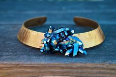 Cobalt quartz and gold brass collar cuff. Lovely color combination   CustomMade