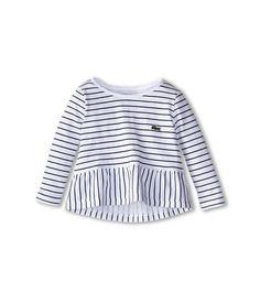 Lacoste Kids 3/4 Sleeve Striped Slubby Peplum Tee (Toddler/Little Kids/Big Kids)