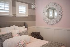 Pink and Gray Girls Bedroom www.elliebeandesign.com
