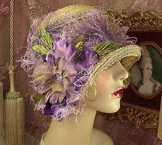 """""""SPECIAL ORDER FOR PEACOCK""""  1920'S VINTAGE TAN & PURPLE CLOCHE FLAPPER HAT"""