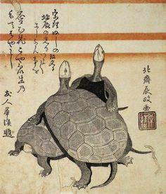 Turtles surimono by Hokusai