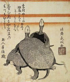 Turtles surimono by Hokusai