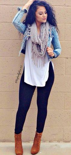 summer outfits  Denim Jacket   White Tank   Black Skinny Jeans   Brown Booties