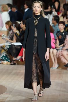 Black Turtle Neck Coat with a Peek Laced Dress by Valentino Fall 2015 Couture Collection Photos - Vogue Couture Fashion, Runway Fashion, High Fashion, Fashion Show, Fashion Outfits, Womens Fashion, Fashion Design, Fashion Weeks, London Fashion