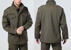 Men's Snap Stand Collar Drawstring Shoulder Strap M65 Jacket      Текстильная мужская полевая куртка М65 с воротом - стойкой, на кнопках с погонами, подол на завязках, отделка нашивками.