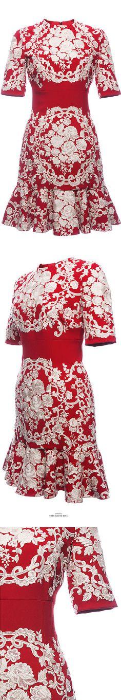 Dolce & Gabbana Embroidered Cady Flounce Hem Dress SS 2015 ♔ Très Haute Diva
