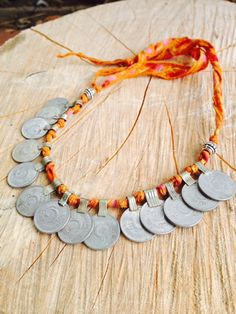 Tribal Kuchi Coin Necklace, Anklet, Bracelet wih Floral Orange Silk Ribbon