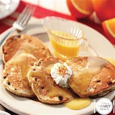Blueberry Sour Cream Pancakes with Orange Butter Sauce by The Power of Family Meals
