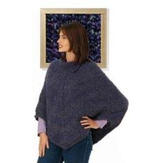 """This is such an easy poncho to make!  You can just sit and knit away while watching tv if you wnt to.  A great project for a beginning knitter! To use a different yarn, just compare yarn yardage and make sure you have the same """"yards"""" as the pattern calls for."""
